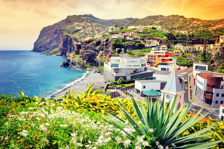 portugal: View of Camara de Lobos, small fisherman village on Madeira island Stock Photo