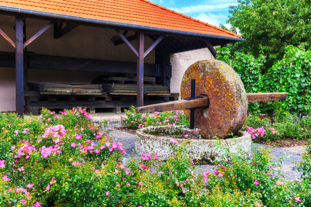 Summer garden with ancient stone wine press