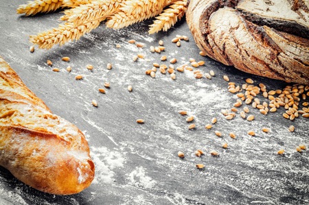 copyspace: Rustic frame with freshly baked bread. Copyspace Stock Photo