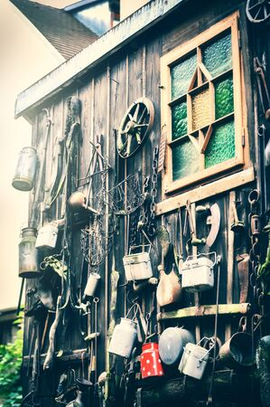 decoration objects: House decoration in grunge style with old used objects. Vintage background Stock Photo