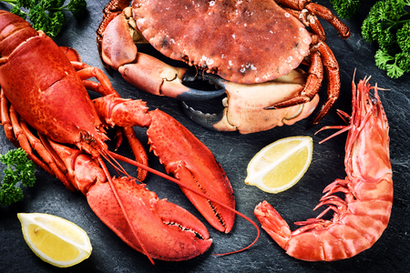 gamba: Buena selección de crustáceos para la cena. Langosta, cangrejo y camarones jumbo en fondo oscuro Foto de archivo