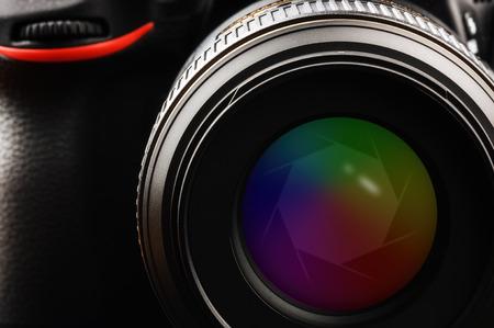 camera lens: Camera lens with shutter. Closeup shot