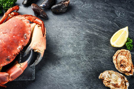 Steamed crab and fresh oysters on dark background. Sea food dinner concept with copy space Stockfoto