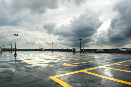 Rainy and empty parking