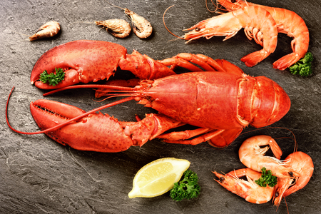Fine selection of crustacean for dinner. Lobster and shrimps on dark stone plate. Food background
