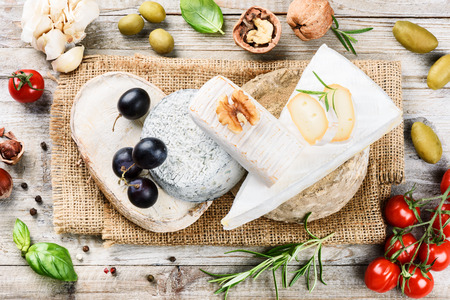 dairy product: Fine selection of French cheese. Food background