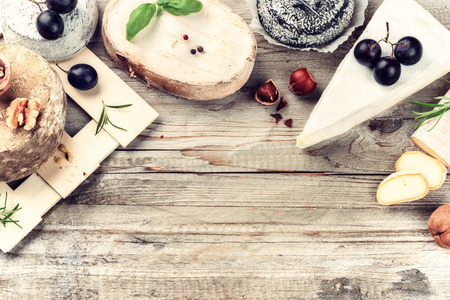 food products: Fine selection of French cheese. Food background