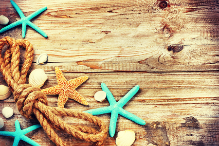 Summer holiday background with seashells and old rope. Copy space Stock Photo