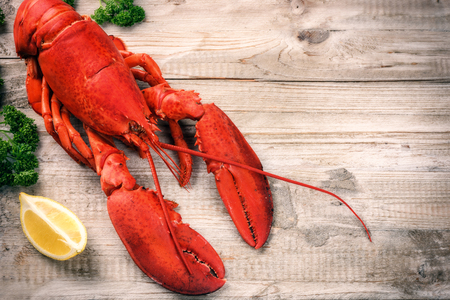crustacean: Fine selection of crustacean for dinner. Steamed lobster with lemon on wooden  background