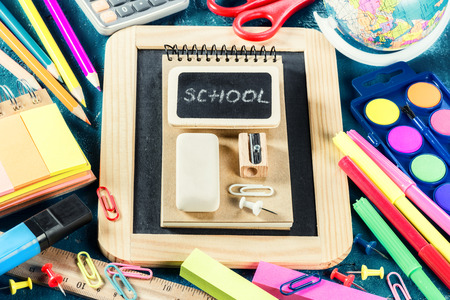 vintage background: Colorful school supplies. Back to school concept Stock Photo