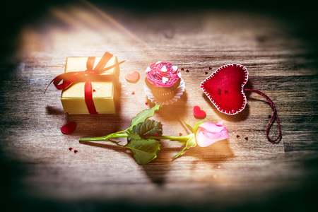 St Valentines concept with decorative hearts, pink rose and presents. Greeting card Stock Photo