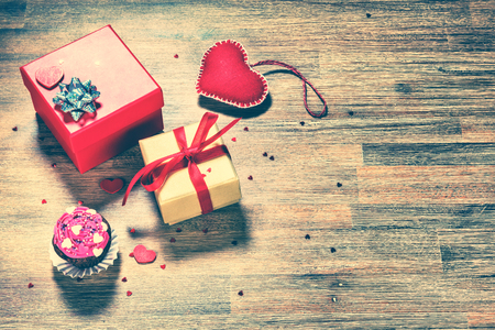 Valentines day background with presents and decorative hearts. Love and romance concept Stock Photo