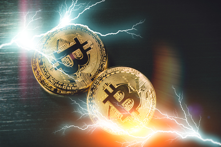 Gold bitcoins closeup. Virtual crypto currency and finance concept Stock Photo