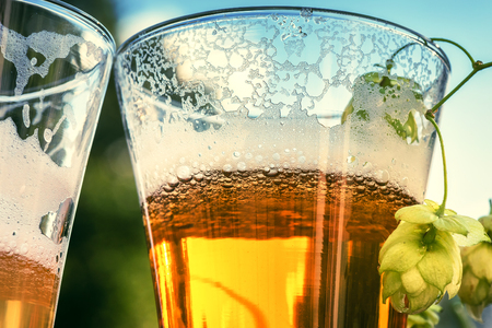 Glasses of cold beer, closeup. Beer tasting concept Stock Photo