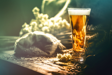 Glass of fresh cold beer in rustic setting. Food and beverage background with copyspace
