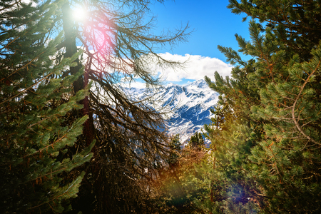 View on snowy peaks of Saint-Luc mountains, Alps Switzerland. Winter nature background