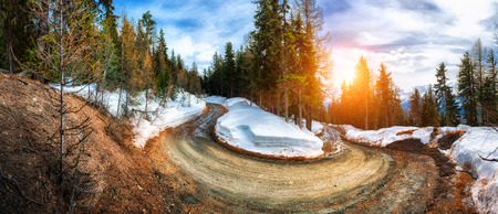View on mountain road, Alps Switzerland. Winter nature background