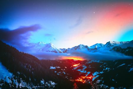 Night view on snowy peaks of Saint-Luc mountains, Alps Switzerland. Nature background Stok Fotoğraf