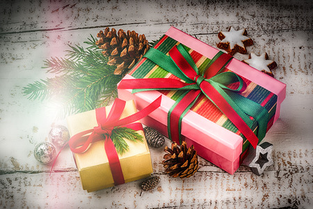 Christmas holiday setting with presents in boxes and festive decorations. Christmas background