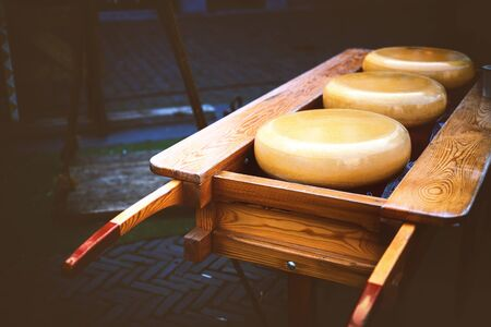 Holland cheese rounds at traditional market. Food background