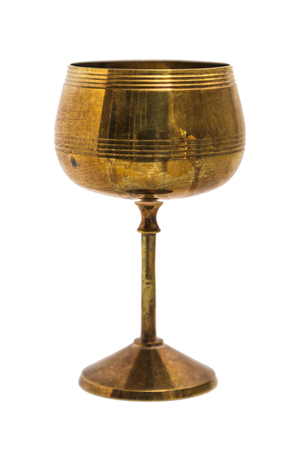 antique vase: Antic gold engraved oriental metal vase on isolated background.