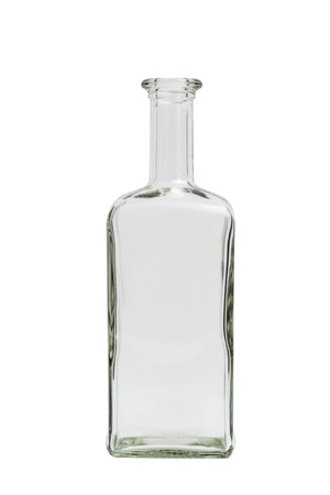 BARWARE: Glass transparent clean empty single shiny beautiful simple square bottle on isolated white background.