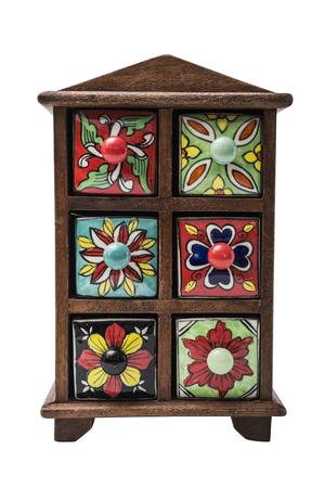 Pequeño Armario Oriental Colorido Decorativo Con Sedimentos