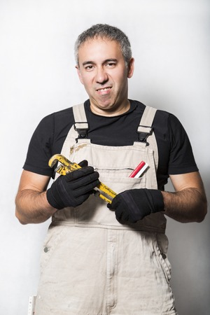 worker specialist plumber, engineer or constructor on white background