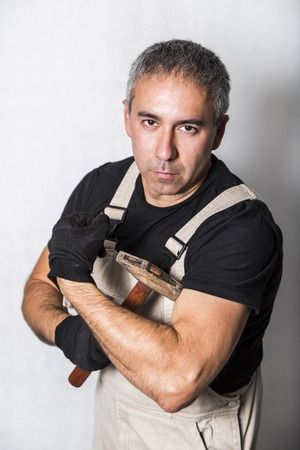 worker plumber, engineer or constructor with muscles Archivio Fotografico