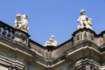 Beautiful sculpture of little cuspids on roof Stock Photo