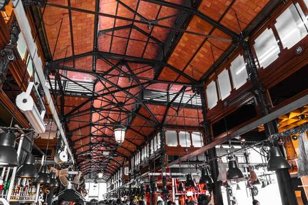 Roof of market Mercado de San Miguel in Madrid Banco de Imagens