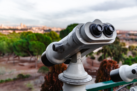 Observation deck with coin operated binocular in Madrid