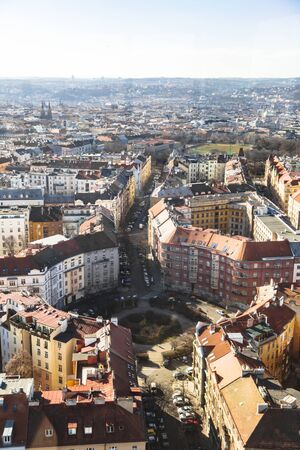 Cityscape panorama of residential houses in Prague Stok Fotoğraf