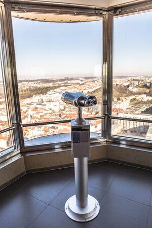 telescope on observation deck aimed at city center Stok Fotoğraf