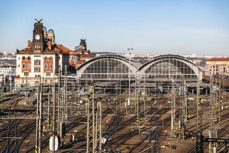 Praha hlavni nadrazi train station from top view