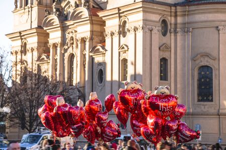 Air balloons with love declaration on it in Prague