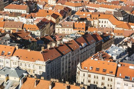 Prague cityscape panorama of residential quarter with red roofs