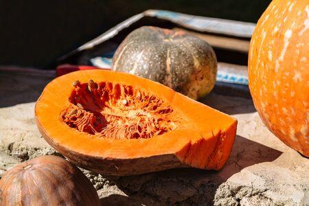 Half of orange pumpkin with seeds inside close up