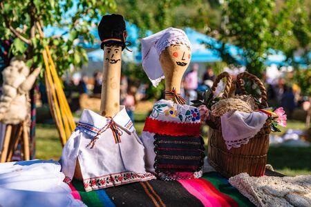 Handmade family dolls on outdoors farmer market Stok Fotoğraf