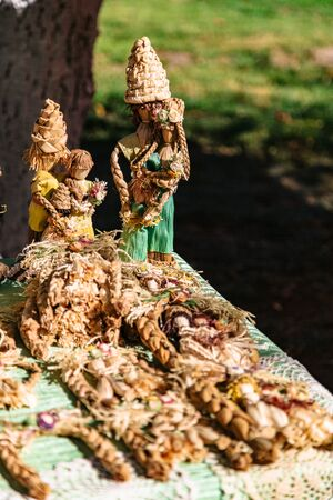 Scarecrow handmade family dolls from straw outdoor