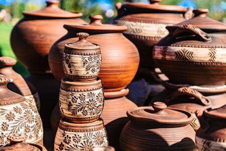 Hand made ceramic pottery on autumn open fair