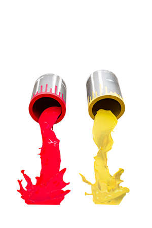 Two metal buckets pouring red and yellow paint