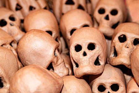 Papier mache skulls for halloween on sale in store 免版税图像