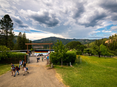 hayfork: HAYFORK, CALIFORNIA, USA - JUNE 30, 2015: City kids arrive to the Bar 717 Ranch mountain ranch summer camp after a 5 hour bus trip for 2 weeks of country style living. Editorial