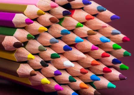 Close Up of Coloured Pencil Tips Archivio Fotografico - 123345810