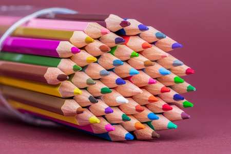 Coloured Pencils in Tub Usable Ends Showing Archivio Fotografico - 123345811