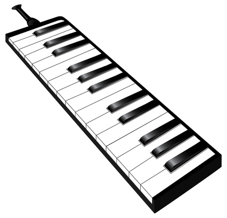A technical illustration of the melodica, wich is a piano played with wind