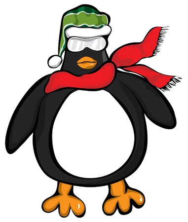 A overweight penguin with a scarf and knit cap