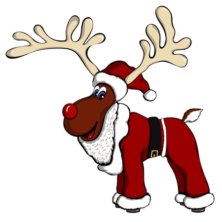 A reindeer with a santa outfit on  Illustration