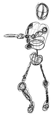 A disc golfer contour drawing or sketch